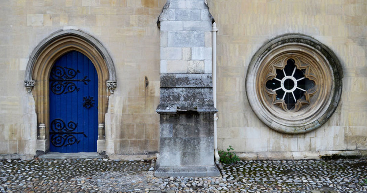 Image shows the entrance to the crypt gallery in the grounds of Norwich Cathedral.
